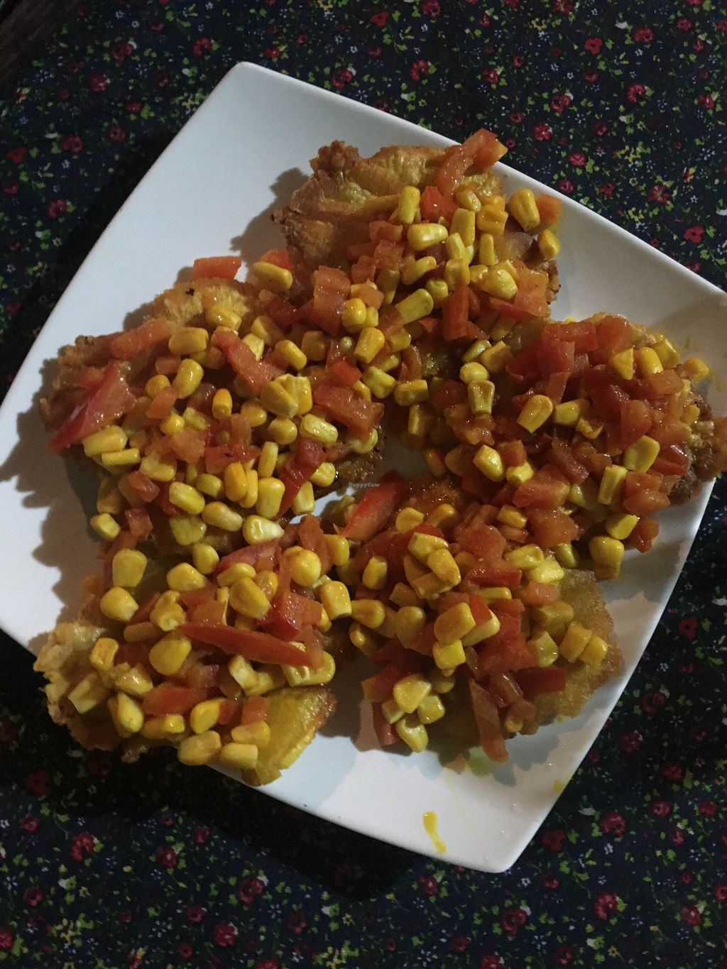 """Photo of Govinda's Restaurante Vegetarian Food & Yoga  by <a href=""""/members/profile/Veggierad"""">Veggierad</a> <br/>Plantain with sweetcorn and tomato  <br/> May 19, 2018  - <a href='/contact/abuse/image/38511/402006'>Report</a>"""