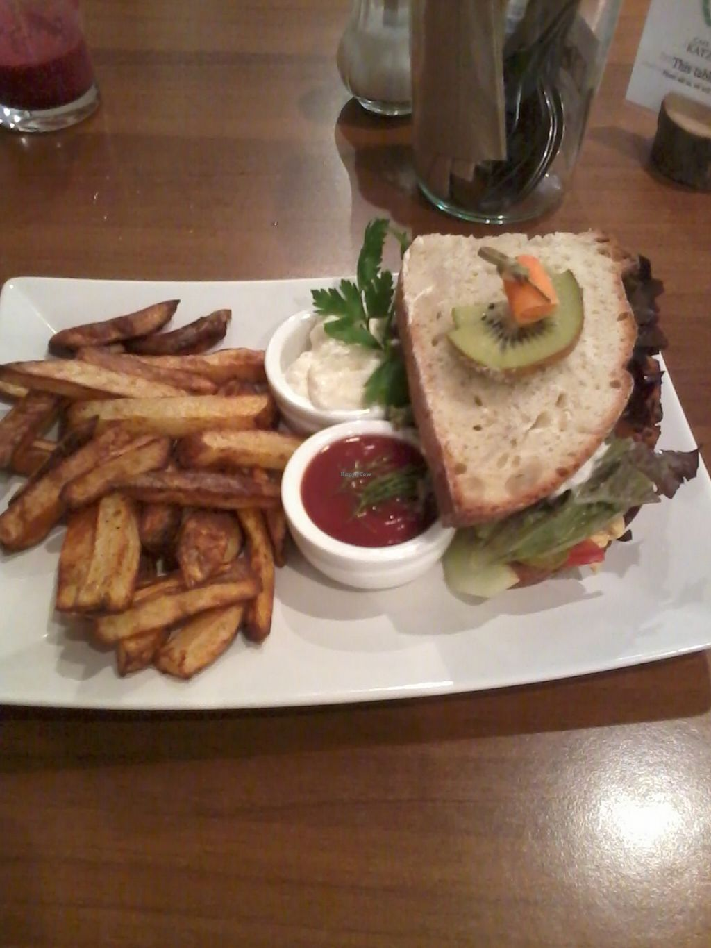 """Photo of Cafe Katzentempel  by <a href=""""/members/profile/deadpledge"""">deadpledge</a> <br/>Bean burger and chips with tomato ketchup and sour cream dip <br/> July 26, 2016  - <a href='/contact/abuse/image/38530/162461'>Report</a>"""