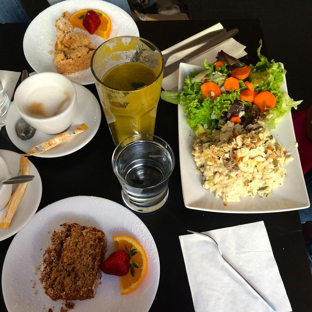 """Photo of Cafe Katzentempel  by <a href=""""/members/profile/Plantpower"""">Plantpower</a> <br/>Lunch, green smoothie, apple crumble, slice, and coffee. Sorry, was so yummy, I forgot to take picture before we started eating...  <br/> August 10, 2014  - <a href='/contact/abuse/image/38530/76509'>Report</a>"""