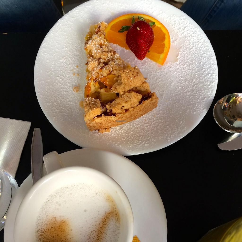 """Photo of Cafe Katzentempel  by <a href=""""/members/profile/Plantpower"""">Plantpower</a> <br/>Vegan crumble cake with coffee.  <br/> August 10, 2014  - <a href='/contact/abuse/image/38530/76512'>Report</a>"""