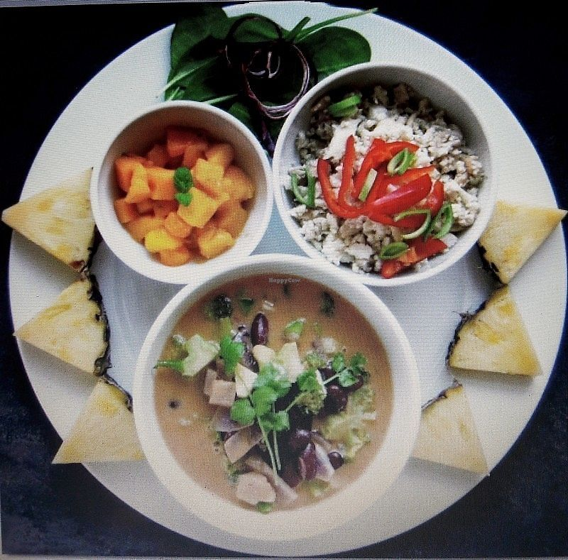 """Photo of Prana Kafe  by <a href=""""/members/profile/Miranda33"""">Miranda33</a> <br/>Caribbean-inspired soup with mango and cauliflower/coconut rice <br/> November 12, 2017  - <a href='/contact/abuse/image/38605/324876'>Report</a>"""