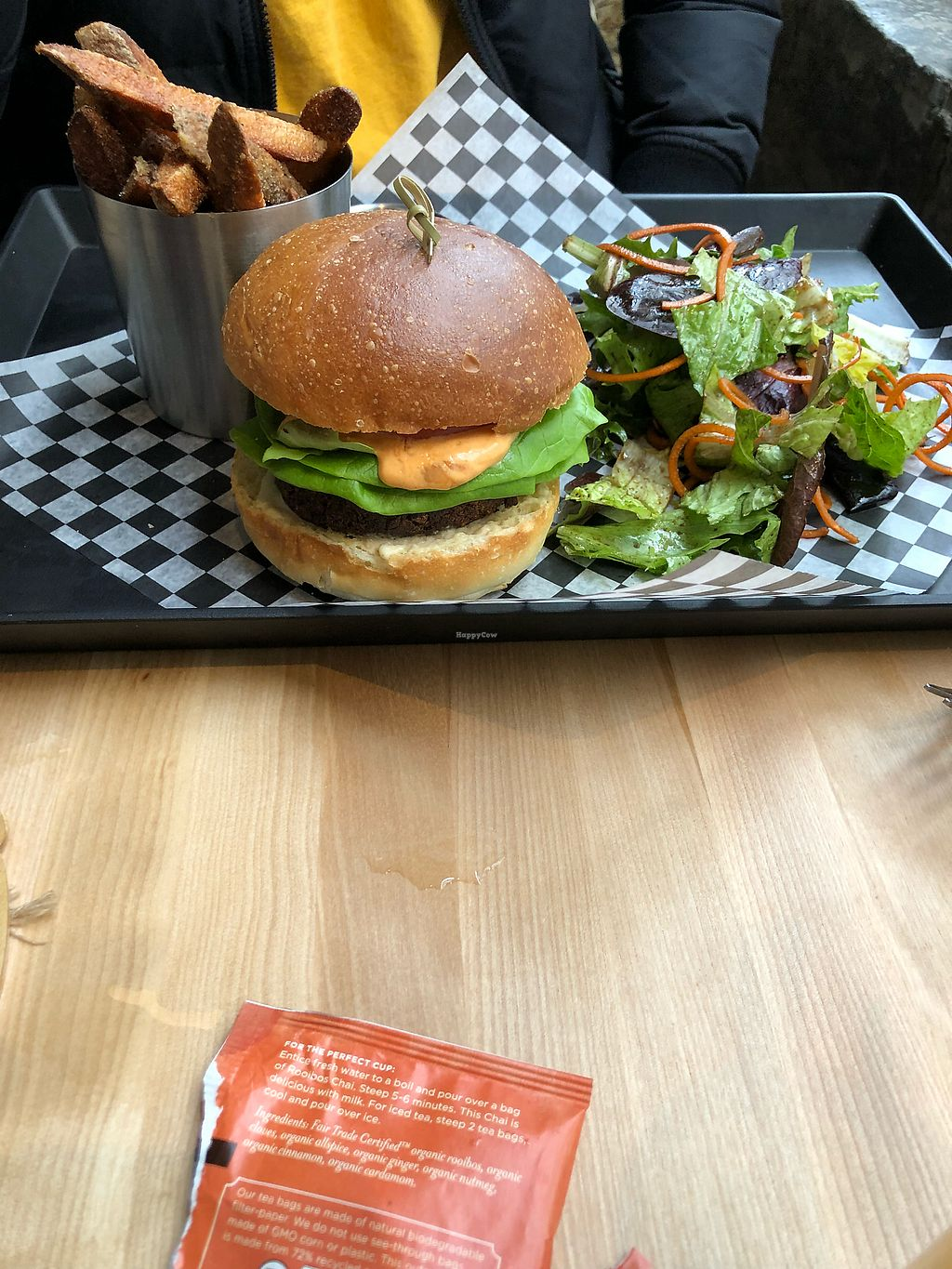 """Photo of Invitation V Vegan Bistro  by <a href=""""/members/profile/KaitlynnGill"""">KaitlynnGill</a> <br/>Chickpea burger  <br/> February 27, 2018  - <a href='/contact/abuse/image/38634/364652'>Report</a>"""