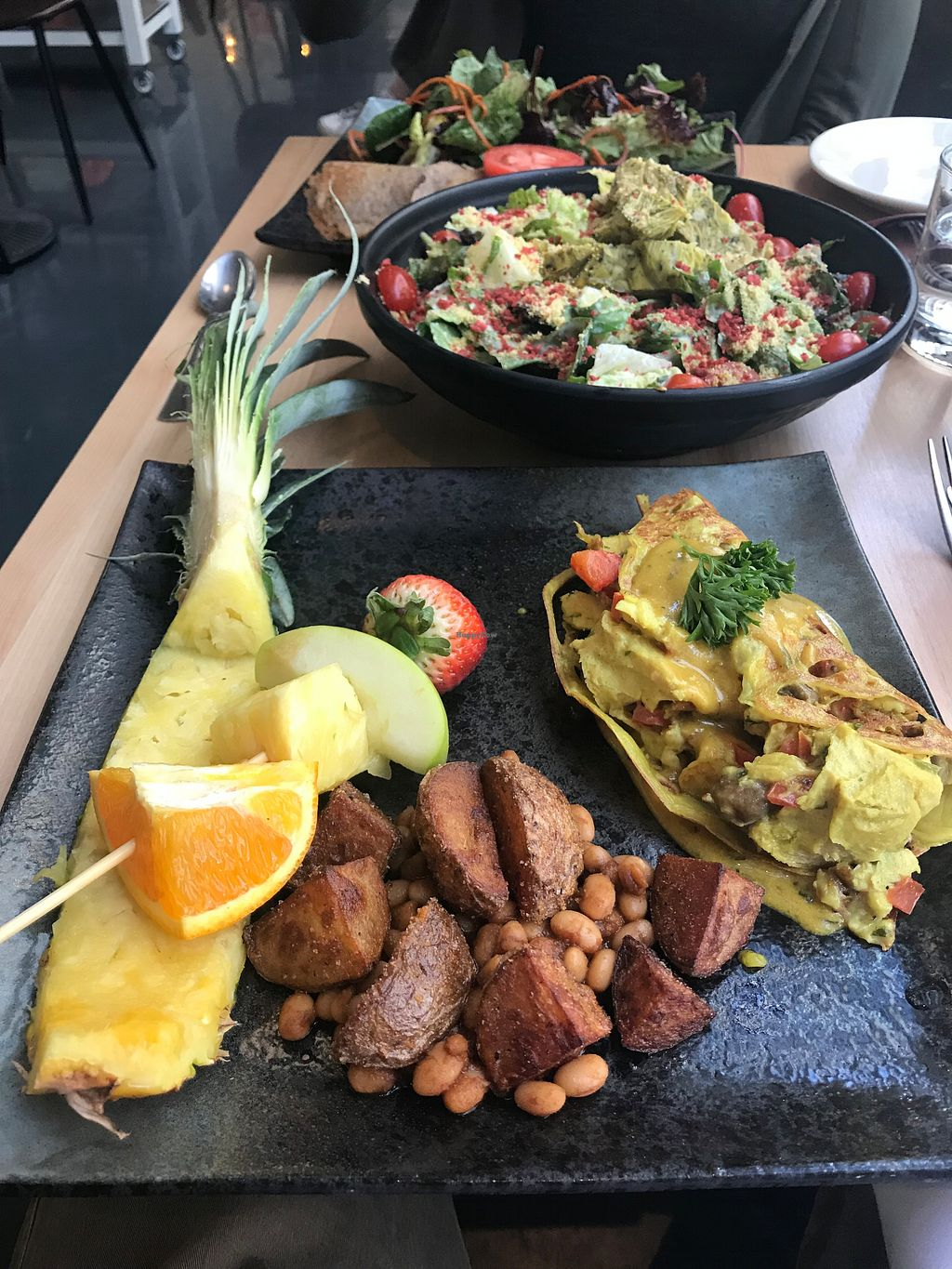 """Photo of Invitation V Vegan Bistro  by <a href=""""/members/profile/TheVeganBlend"""">TheVeganBlend</a> <br/>Omelet and Caesar Salad  <br/> May 13, 2018  - <a href='/contact/abuse/image/38634/398945'>Report</a>"""