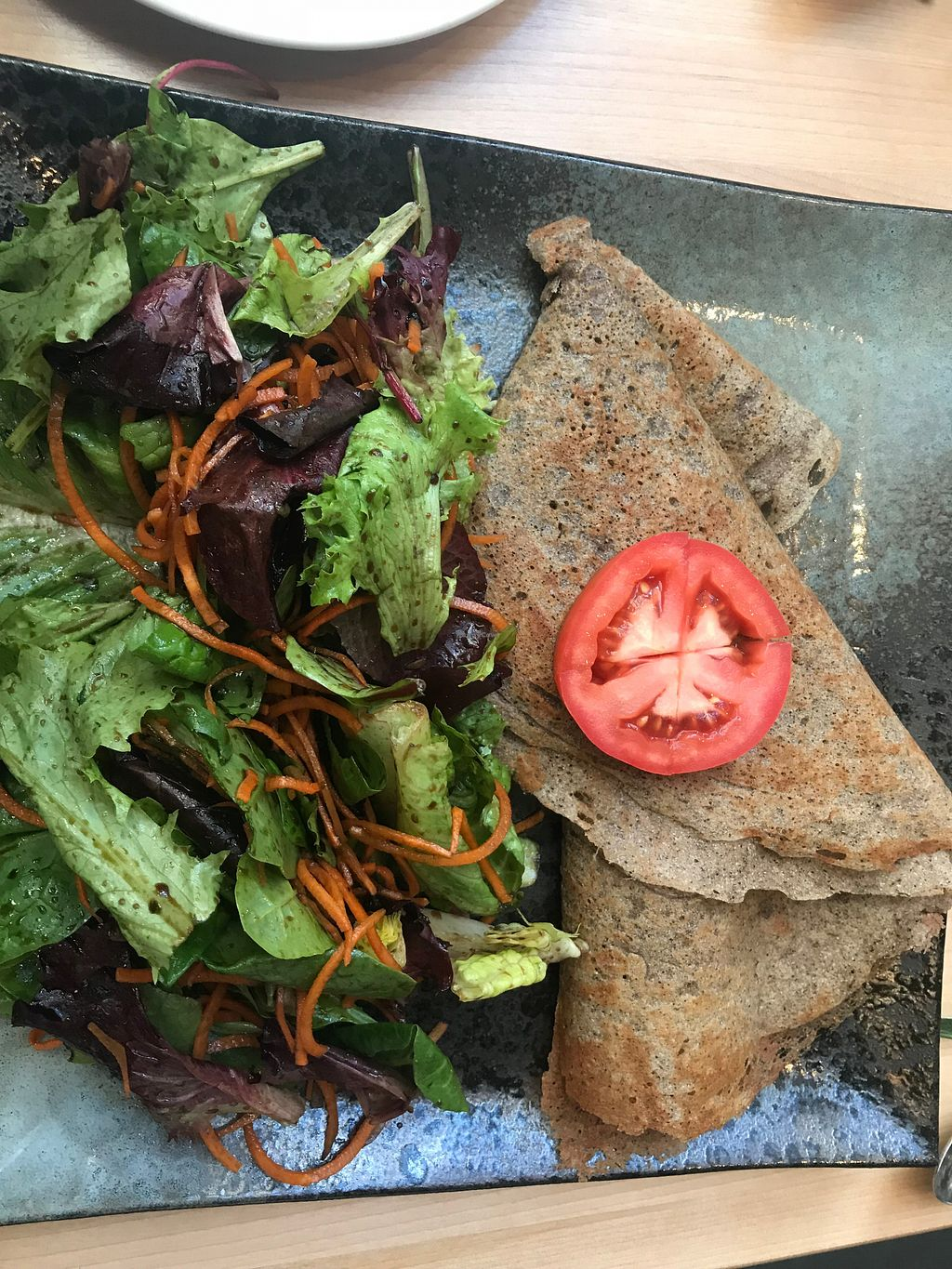 """Photo of Invitation V Vegan Bistro  by <a href=""""/members/profile/TheVeganBlend"""">TheVeganBlend</a> <br/>Savory Crepe with a yummy cashew cheese, mushrooms, and peppers, served with a large side salad. Fantastic!! <br/> May 13, 2018  - <a href='/contact/abuse/image/38634/398947'>Report</a>"""