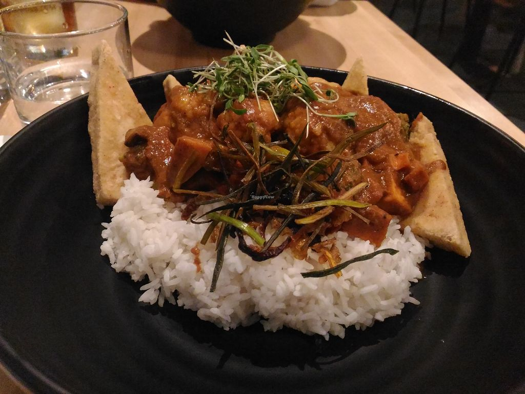 """Photo of Invitation V Vegan Bistro  by <a href=""""/members/profile/Travellerslife"""">Travellerslife</a> <br/>Butter """"Chicken"""" <br/> May 21, 2018  - <a href='/contact/abuse/image/38634/402735'>Report</a>"""