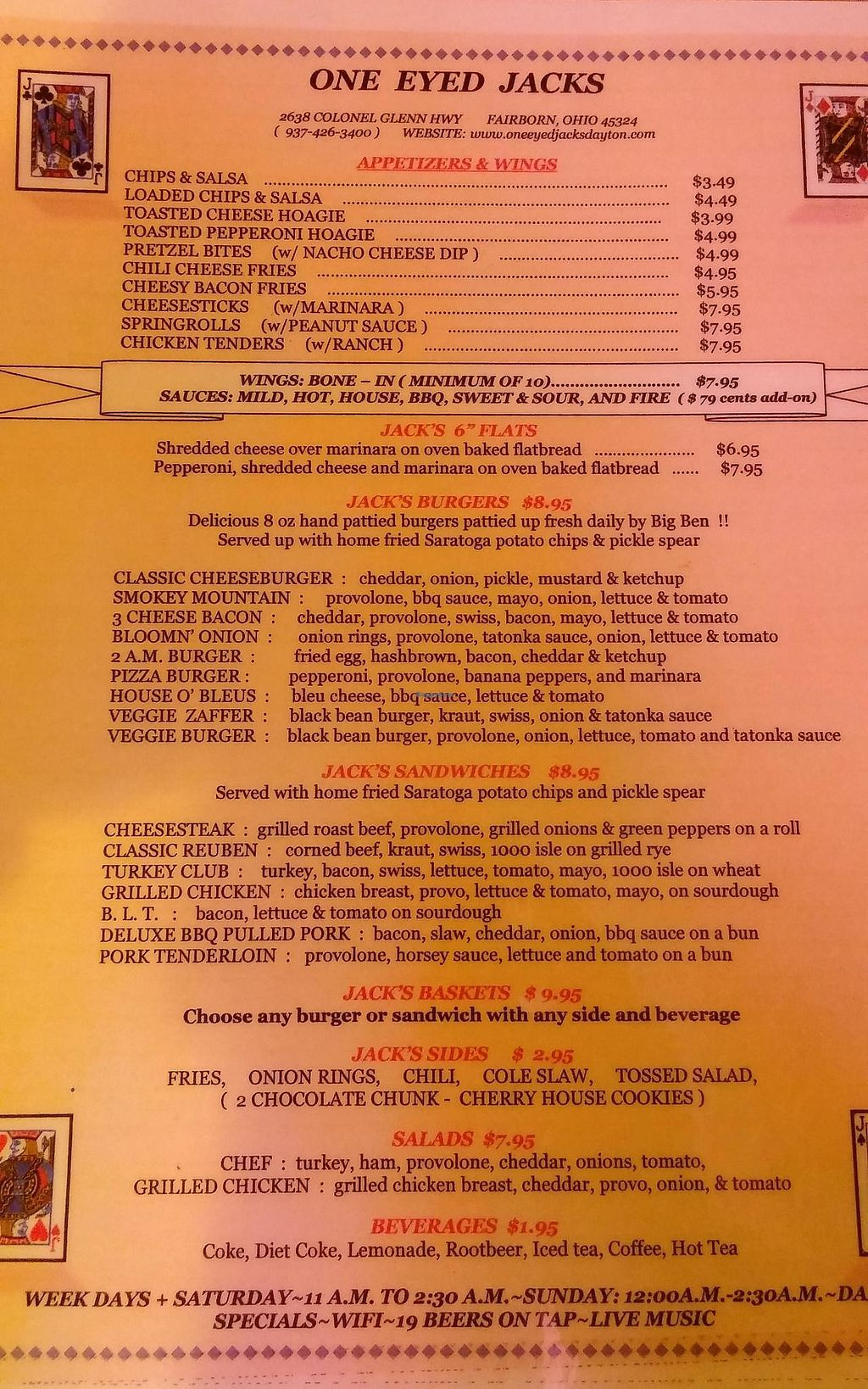 "Photo of One Eyed Jacks  by <a href=""/members/profile/Dpelkeyuscg"">Dpelkeyuscg</a> <br/>Photo of menu as of 8dec2014 only one page.  <br/> December 8, 2014  - <a href='/contact/abuse/image/38686/216922'>Report</a>"