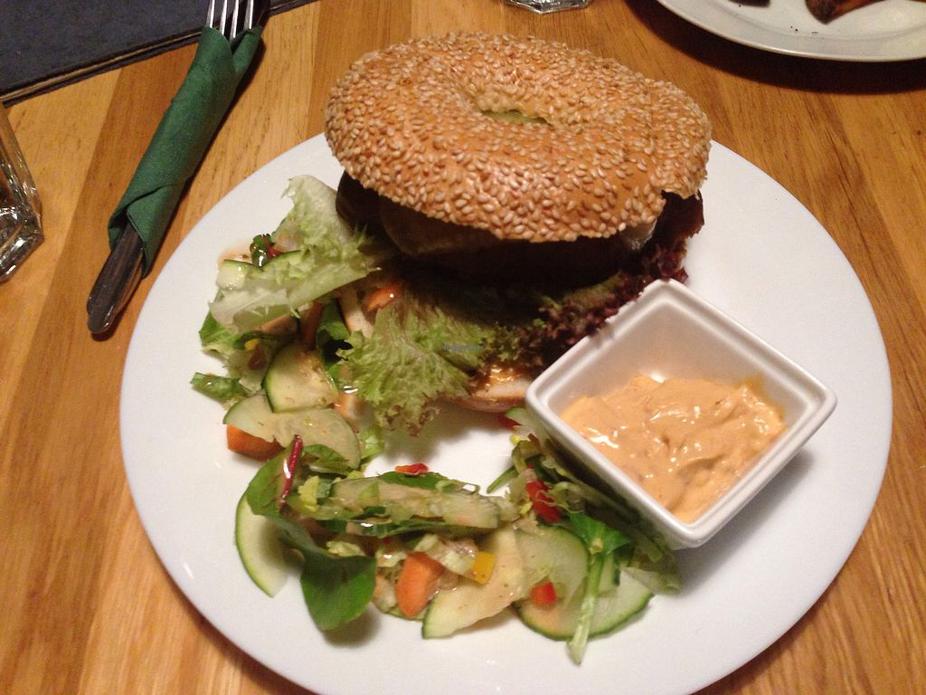"Photo of Moment  by <a href=""/members/profile/FierceJewel"">FierceJewel</a> <br/>Seitan and cheese bagel with a side salad!  <br/> December 24, 2017  - <a href='/contact/abuse/image/38687/338827'>Report</a>"