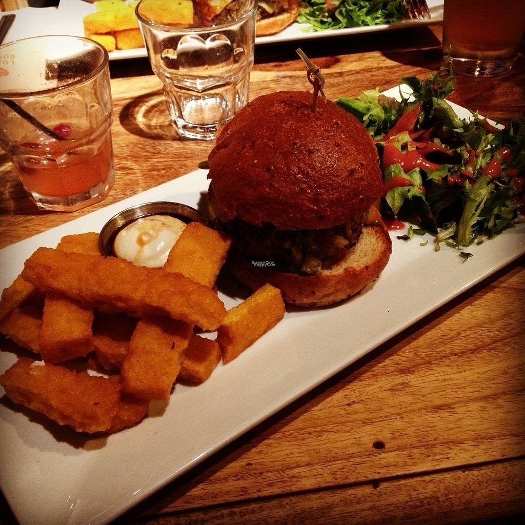 """Photo of Lola Rosa - Parc  by <a href=""""/members/profile/o0Carolyn0o"""">o0Carolyn0o</a> <br/>Hemp burger with chickpea fries and vegan mayo...yumm!! <br/> September 26, 2016  - <a href='/contact/abuse/image/38742/178047'>Report</a>"""