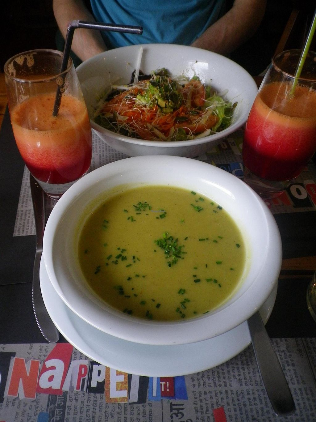 """Photo of Sukha Espai Vegetarian  by <a href=""""/members/profile/Becky%20Louise"""">Becky Louise</a> <br/>Starter of homemade zuccinni soup and a big beautiful salad  <br/> May 18, 2014  - <a href='/contact/abuse/image/38753/70234'>Report</a>"""