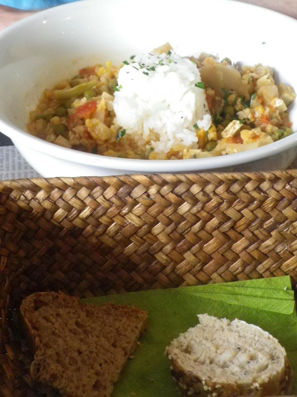 """Photo of Sukha Espai Vegetarian  by <a href=""""/members/profile/Becky%20Louise"""">Becky Louise</a> <br/>Thai style main - lots of veggies and homemade bread. We were happy bunnies! <br/> May 18, 2014  - <a href='/contact/abuse/image/38753/70236'>Report</a>"""