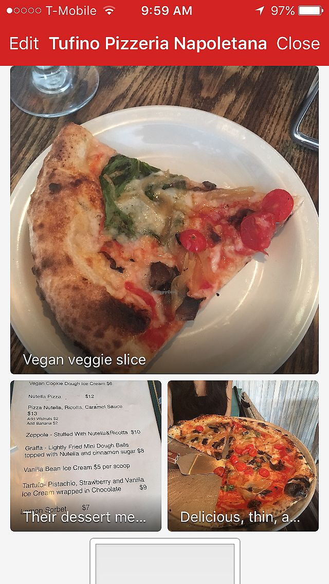 """Photo of Tufino Pizzeria  by <a href=""""/members/profile/Krystievegan"""">Krystievegan</a> <br/>This restaurant has vegan pizza, vegan calzones, vegan paninis, and even vegan cookie dough ice cream for dessert!  <br/> July 28, 2017  - <a href='/contact/abuse/image/38810/285879'>Report</a>"""
