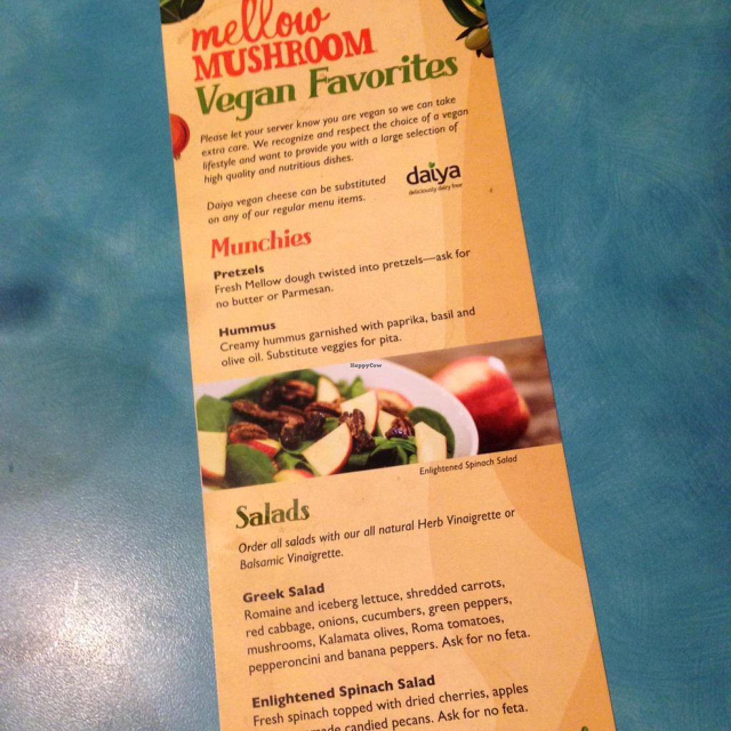 """Photo of Mellow Mushroom  by <a href=""""/members/profile/shannonandmarty"""">shannonandmarty</a> <br/>ask for vegan menu! <br/> July 6, 2015  - <a href='/contact/abuse/image/38821/108389'>Report</a>"""