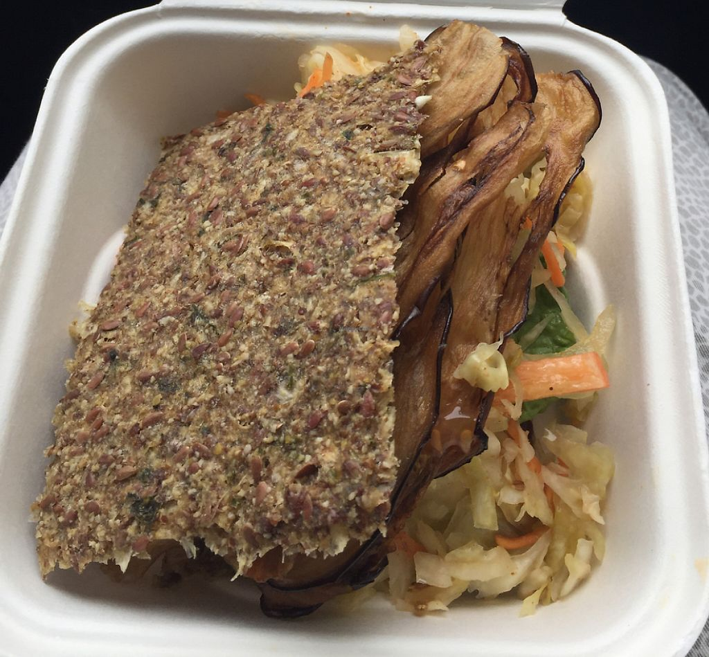 """Photo of Peace Love and Raw  by <a href=""""/members/profile/JudithGough"""">JudithGough</a> <br/>5 star Eggplant Jerky Sandwich <br/> May 28, 2016  - <a href='/contact/abuse/image/38823/232908'>Report</a>"""