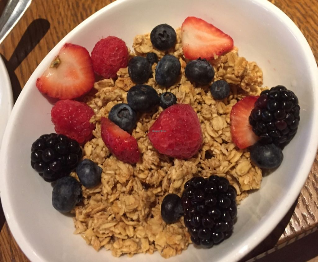 """Photo of Ellary's Greens  by <a href=""""/members/profile/erynmarie"""">erynmarie</a> <br/>House made granola with berries and almond milk <br/> October 25, 2015  - <a href='/contact/abuse/image/38834/210494'>Report</a>"""