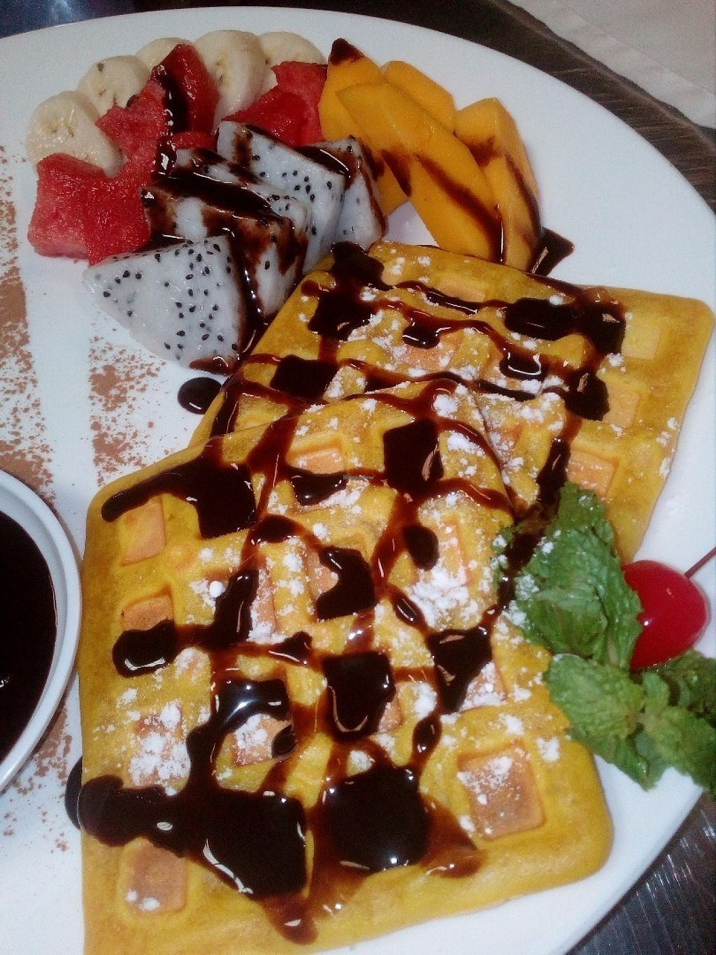 "Photo of CLOSED: Bamboo Bar & Vegetarian Restaurant  by <a href=""/members/profile/AnnaAnna"">AnnaAnna</a> <br/>Belgium waffles with fruits and chocolate <br/> May 31, 2017  - <a href='/contact/abuse/image/38858/264431'>Report</a>"