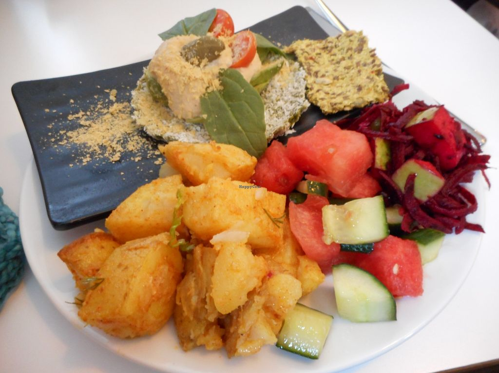 "Photo of Glo - Laugavegur  by <a href=""/members/profile/RachelLouise"">RachelLouise</a> <br/>Raw dish made from basil, cashews, coconut, and more.  Plus three salads/sides.  Delicious! <br/> August 25, 2015  - <a href='/contact/abuse/image/38919/115201'>Report</a>"