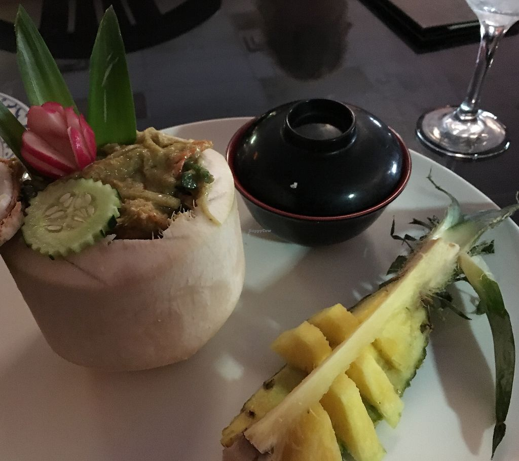 "Photo of Thai Spice  by <a href=""/members/profile/JohnPetrey"">JohnPetrey</a> <br/>Green curry in a coconut with fresh pineapple to cool the heat of the spice ... awesome! <br/> August 6, 2017  - <a href='/contact/abuse/image/38940/289481'>Report</a>"