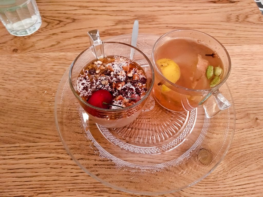 """Photo of Tenat  by <a href=""""/members/profile/maltman23"""">maltman23</a> <br/>Pudding with hazelnut, chocolate, and maple syrup , and ginger-lemon-cardamom-clove tea at Tenat <br/> May 12, 2018  - <a href='/contact/abuse/image/38946/398581'>Report</a>"""