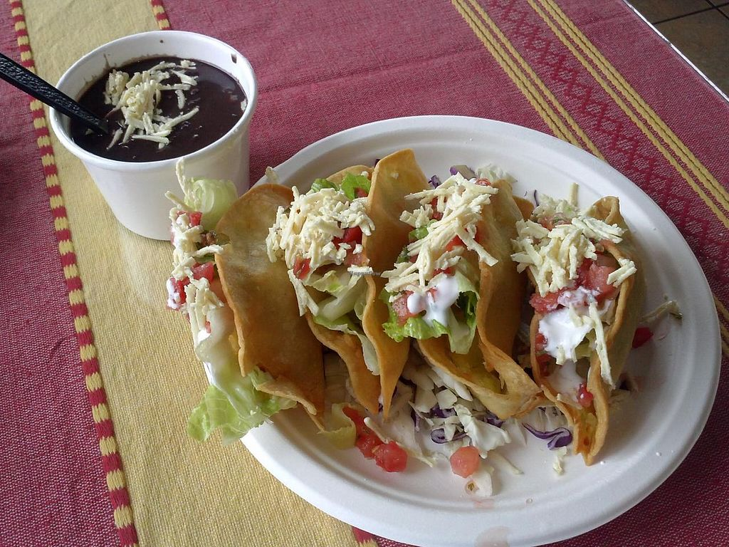 "Photo of El Cantaro Vegan Mexican Restaurant  by <a href=""/members/profile/Sonja%20and%20Dirk"">Sonja and Dirk</a> <br/>crispy potato tacos and black beans <br/> August 11, 2014  - <a href='/contact/abuse/image/38958/76714'>Report</a>"