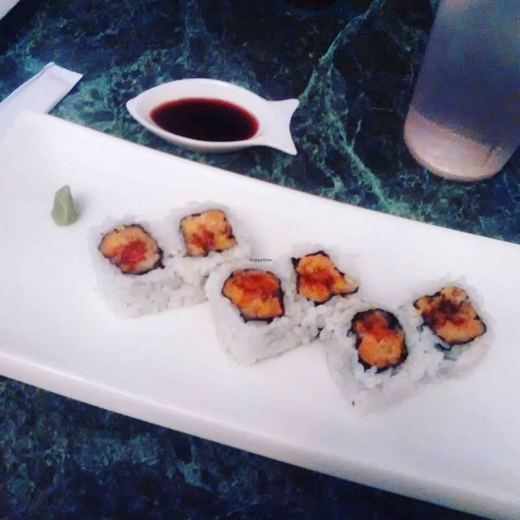 """Photo of The B-Well Sushi and Cafe  by <a href=""""/members/profile/QuothTheRaven"""" class=""""title__title"""">QuothTheRaven</a> <br/>Yam tempura roll <br/> August 30, 2015  - <a href='/contact/abuse/image/39037/115815'>Report</a>"""
