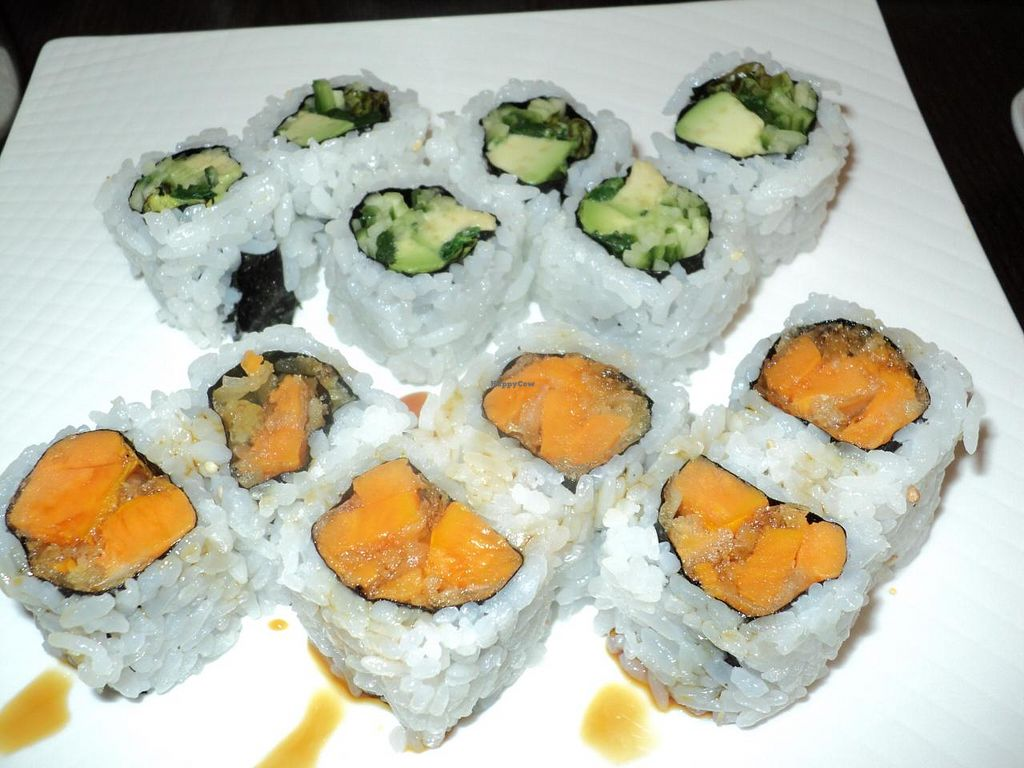 Photo of The B-Well Sushi and Cafe  by Eco Cay <br/>Spinach & Friends sushi and Tempura Yam Roll sushi <br/> May 11, 2014  - <a href='/contact/abuse/image/39037/69818'>Report</a>