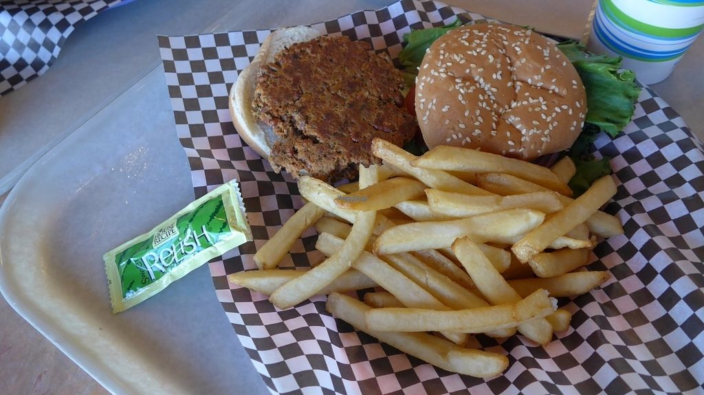 """Photo of Maswick Cafeteria  by <a href=""""/members/profile/SaraMarkic"""">SaraMarkic</a> <br/>vegan burger with fries and relish <br/> October 19, 2016  - <a href='/contact/abuse/image/39040/183030'>Report</a>"""
