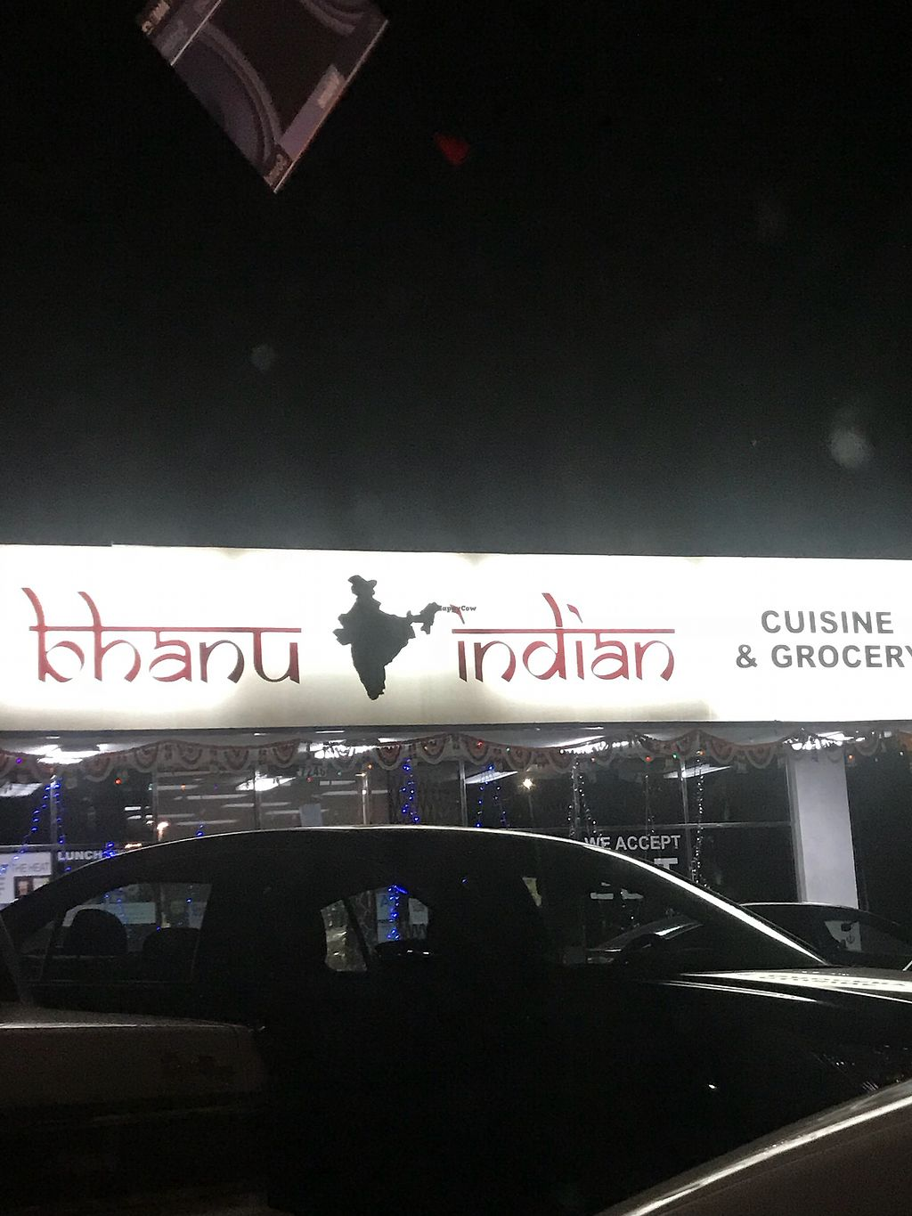 "Photo of Bhanu's Indian Grocery and Cuisine  by <a href=""/members/profile/Vegan_Ness"">Vegan_Ness</a> <br/>Outside of Bhanu restaurant  <br/> January 2, 2018  - <a href='/contact/abuse/image/39050/342265'>Report</a>"