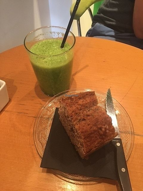 """Photo of Bazilika Cafe  by <a href=""""/members/profile/Stephaneen"""">Stephaneen</a> <br/>Vegan green smoothie and vegan banana bread <br/> October 10, 2017  - <a href='/contact/abuse/image/39053/314072'>Report</a>"""