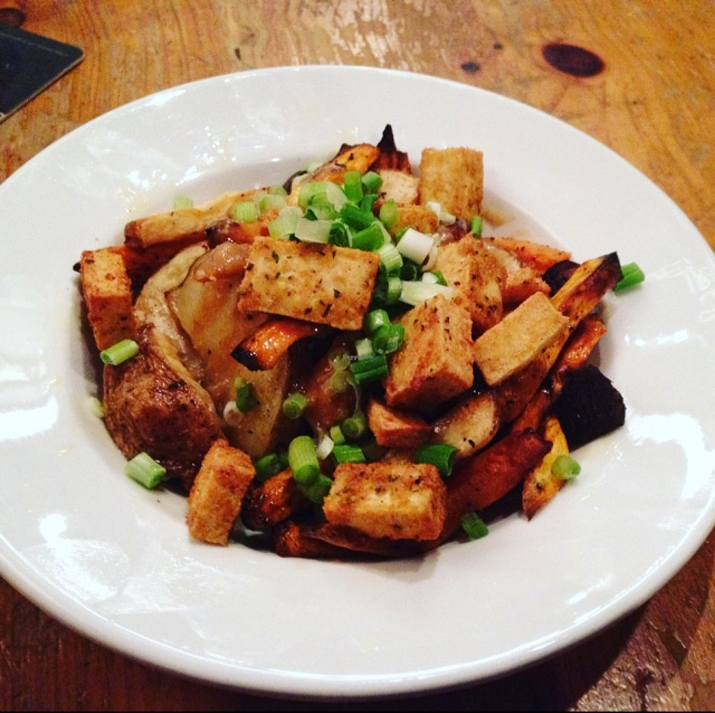 """Photo of The Foggy Goggle  by <a href=""""/members/profile/robynsomethingunique"""">robynsomethingunique</a> <br/>vegan poutine with tofu, sweet potatoes, russet potatoes, and miso gravy! <br/> November 12, 2015  - <a href='/contact/abuse/image/39078/124733'>Report</a>"""