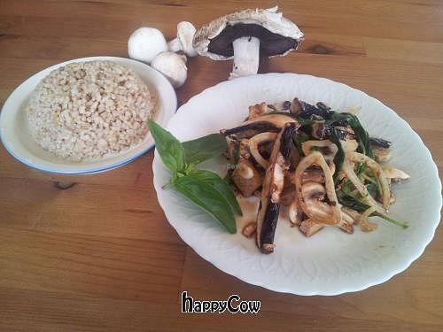 """Photo of CLOSED: HaMitbach HaTailandi  by <a href=""""/members/profile/yossiv"""">yossiv</a> <br/>Stir-fried tofu mushrooms, onions, basil, peppermint marinated in soy sauce, date syrup, lemon, ginger and garlic. A bowl of rice on the side <br/> June 12, 2013  - <a href='/contact/abuse/image/39112/49477'>Report</a>"""