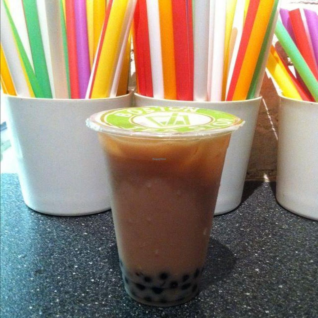 """Photo of Boston Tea Stop  by <a href=""""/members/profile/Hyperbelly"""">Hyperbelly</a> <br/>Strawberry almond milk tea with boba! <br/> June 11, 2014  - <a href='/contact/abuse/image/39169/71816'>Report</a>"""
