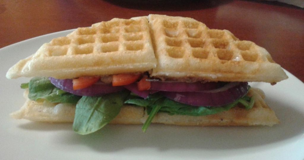 "Photo of The Bald Strawberry Cafe  by <a href=""/members/profile/MicheleWay"">MicheleWay</a> <br/>The Big V, piles of veggies, black bean hummus and avocado on a waffle  <br/> August 4, 2014  - <a href='/contact/abuse/image/39195/75925'>Report</a>"