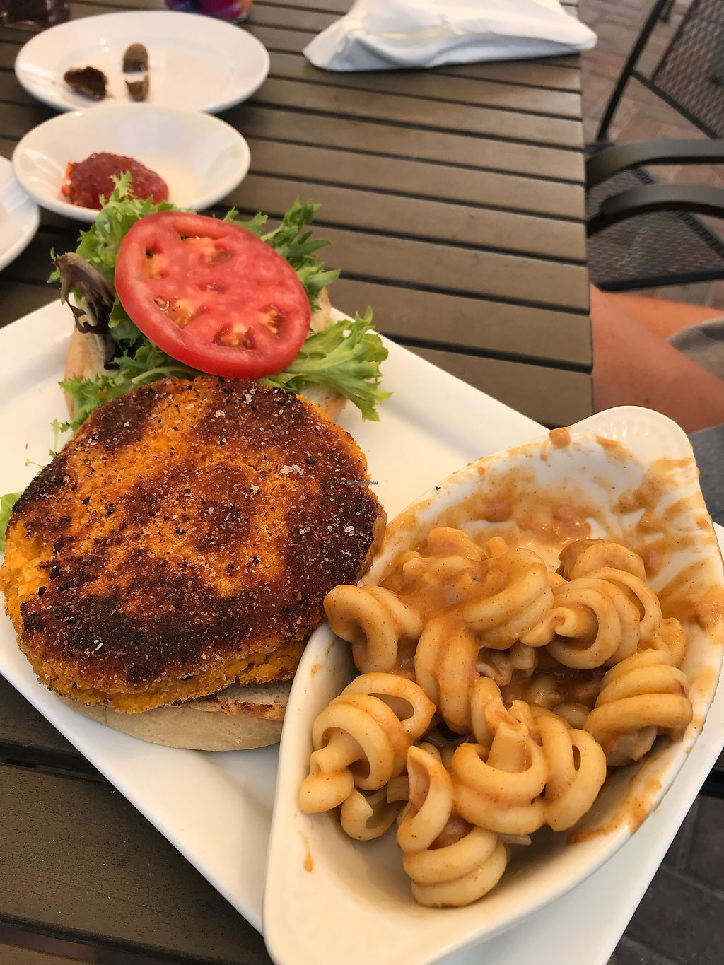"Photo of Ballyhoo's  by <a href=""/members/profile/veg4good"">veg4good</a> <br/>Sweet potato burger with side Vegan Mac and cheese  <br/> March 21, 2018  - <a href='/contact/abuse/image/39209/373981'>Report</a>"