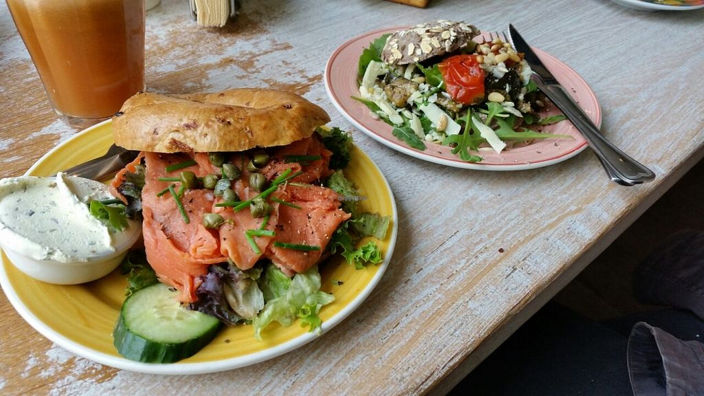 """Photo of Bagels & Beans  by <a href=""""/members/profile/ThaJazzster"""">ThaJazzster</a> <br/>On the left a salmon cinnamon bagel, on the right a veggie oat bagel <br/> September 3, 2015  - <a href='/contact/abuse/image/39245/116207'>Report</a>"""