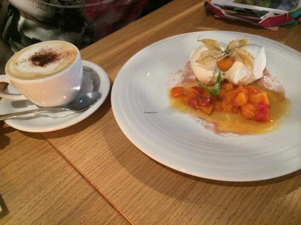 """Photo of CLOSED: Chimichurri  by <a href=""""/members/profile/Plantpower"""">Plantpower</a> <br/>Vegan dessert & cappuccino with almond milk. Both delicious.  <br/> August 12, 2014  - <a href='/contact/abuse/image/39258/76773'>Report</a>"""