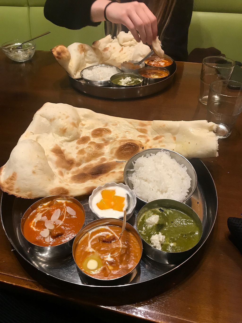 """Photo of Namaste Shokudou  by <a href=""""/members/profile/hbad"""">hbad</a> <br/>Lunch menu - 3 vegetable curries, with naan and rice refills and drink 1050JPY <br/> November 17, 2017  - <a href='/contact/abuse/image/39379/326335'>Report</a>"""