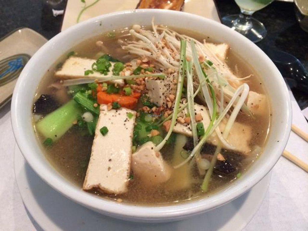 """Photo of Pho and Hot Pot  by <a href=""""/members/profile/kmilitello"""">kmilitello</a> <br/>fresh veg Pho Chay with peanut sauté broth <br/> July 30, 2014  - <a href='/contact/abuse/image/39383/75510'>Report</a>"""