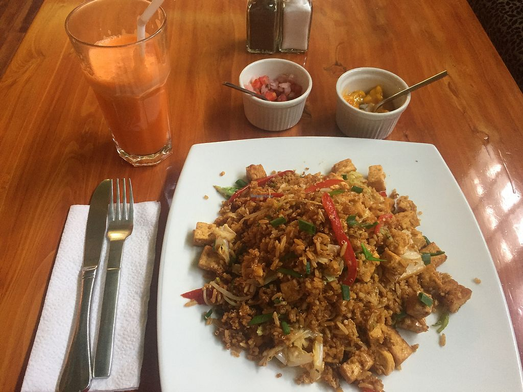 "Photo of Cafe Andino  by <a href=""/members/profile/joegelay"">joegelay</a> <br/>Vegan quinoafa (tofu and without egg) with carrot/apple/ginger juice <br/> February 3, 2018  - <a href='/contact/abuse/image/39403/354552'>Report</a>"