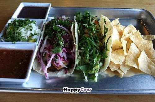 """Photo of Taco Ocho  by <a href=""""/members/profile/vegwhen"""">vegwhen</a> <br/>Rico Ocho and Pura Vida tacos at Taco Ocho. Both are vegan. Also, black beans, rice and chips are vegan as well <br/> June 30, 2013  - <a href='/contact/abuse/image/39467/50515'>Report</a>"""
