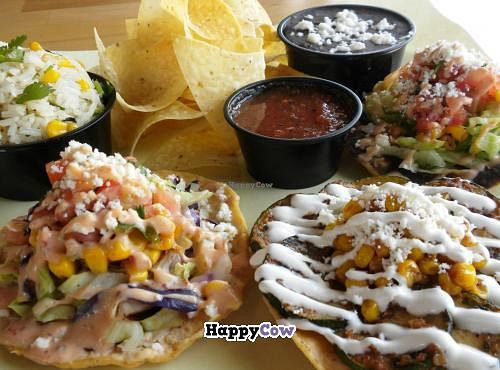 """Photo of Taco Ocho  by <a href=""""/members/profile/vegwhen"""">vegwhen</a> <br/>Vegetarian Tostada Platter at Taco Ocho. They offer 8 different tostadas and all of them can be made vegan as well <br/> June 30, 2013  - <a href='/contact/abuse/image/39467/50517'>Report</a>"""