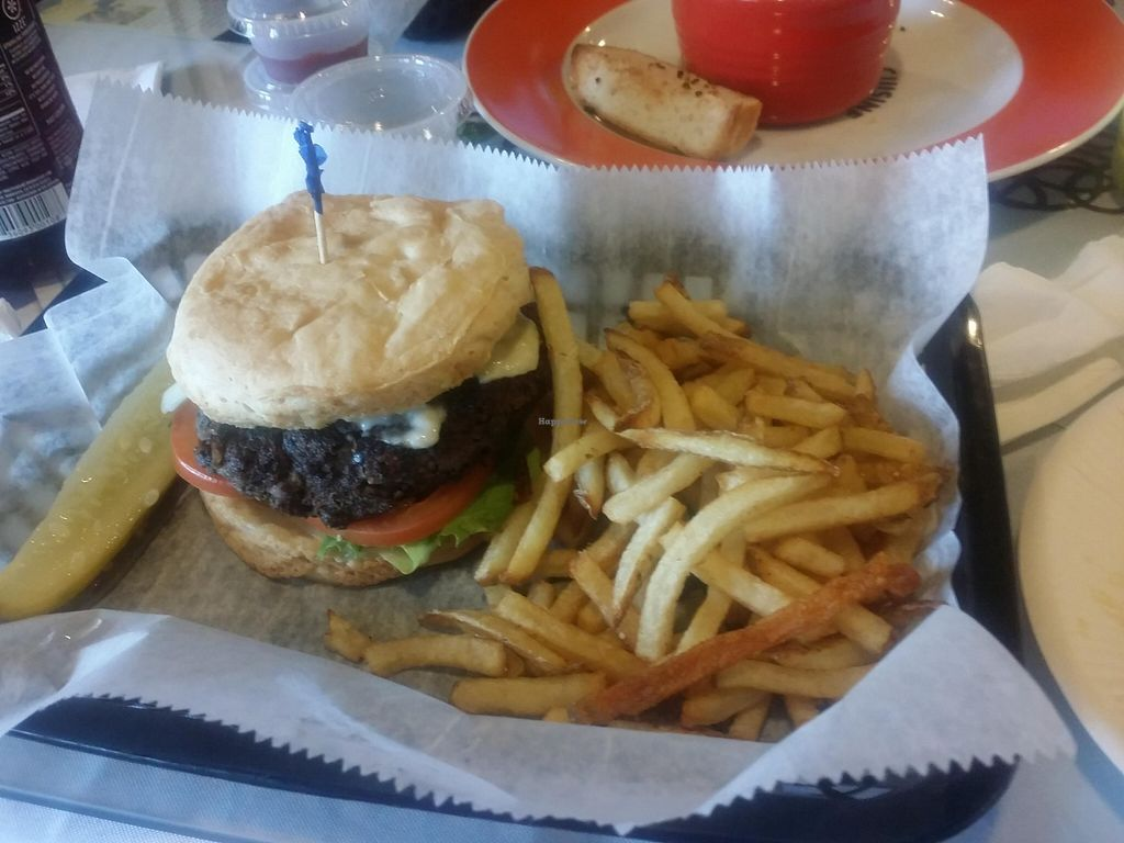"""Photo of One Dish Cuisine  by <a href=""""/members/profile/Dr.Ruby"""">Dr.Ruby</a> <br/>Gluten-free Vegan Cheese Burger  <br/> September 25, 2015  - <a href='/contact/abuse/image/39475/119048'>Report</a>"""
