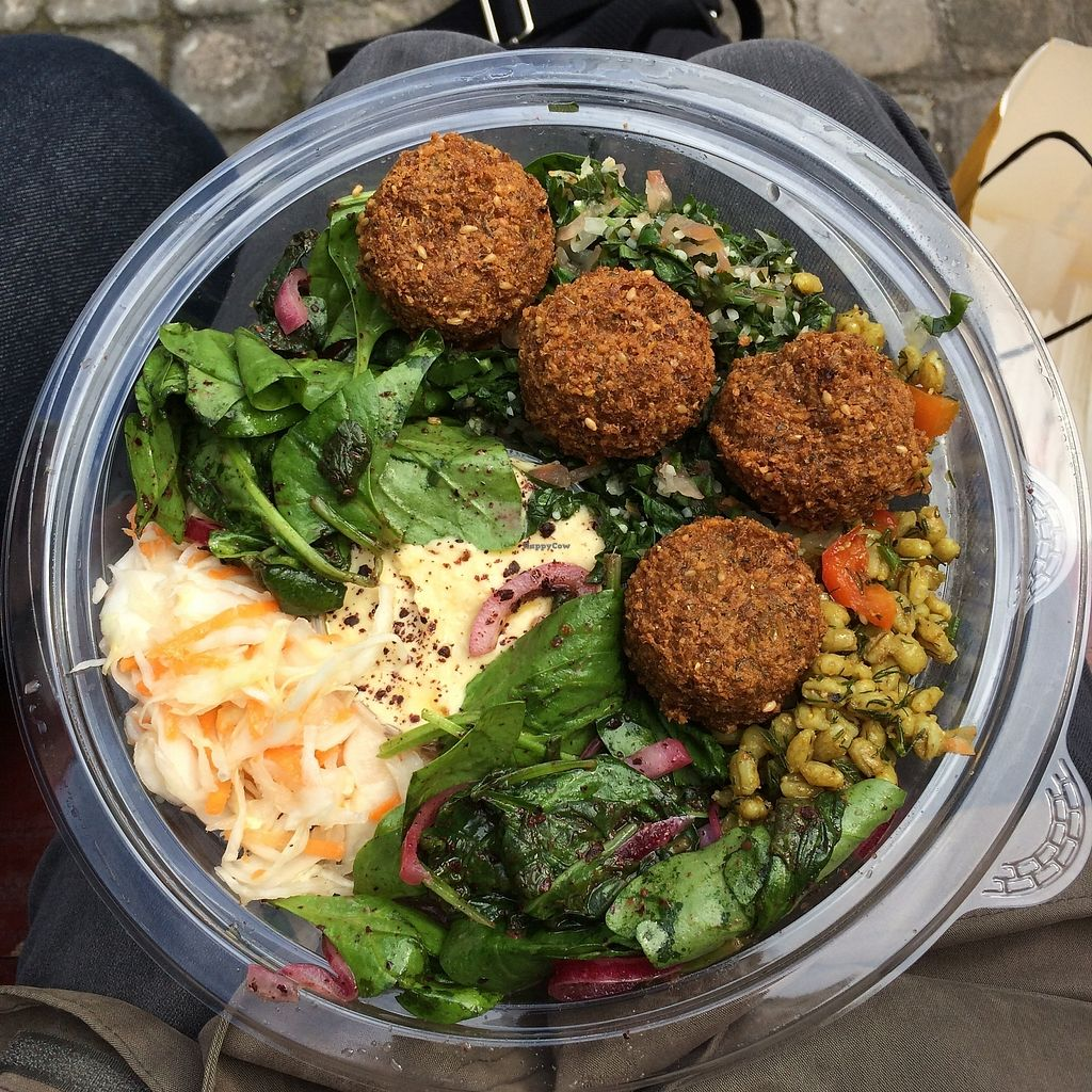 """Photo of Go Falafel - Piccadilly Gardens  by <a href=""""/members/profile/Hoggy"""">Hoggy</a> <br/>Fresh Falafel Lunch Box. A selection of fresh salad mixes, houmous and fresh, crispy falafel. (swapped couscous option for extra spinach mix) <br/> September 20, 2017  - <a href='/contact/abuse/image/39503/306461'>Report</a>"""