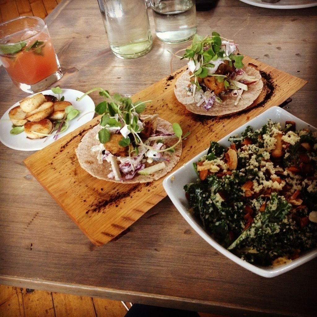 "Photo of enVie A Vegan Kitchen  by <a href=""/members/profile/o0Carolyn0o"">o0Carolyn0o</a> <br/>Side of king oyster mushroom ""scallops"", vish tacos(amazing!), and the kale caesar. Yum!! <br/> September 27, 2016  - <a href='/contact/abuse/image/39515/178191'>Report</a>"
