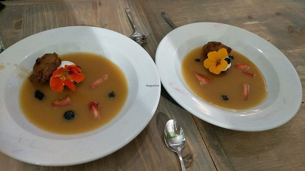 "Photo of enVie A Vegan Kitchen  by <a href=""/members/profile/lmcc"">lmcc</a> <br/>Sticky toffee pudding with edible flowers <br/> June 2, 2017  - <a href='/contact/abuse/image/39515/264939'>Report</a>"