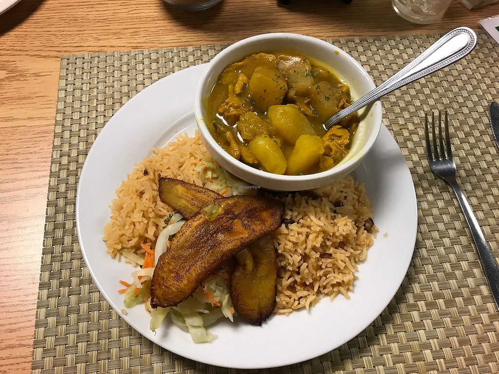 """Photo of Mangos Caribbean Restaurant  by <a href=""""/members/profile/VeganMamaAL"""">VeganMamaAL</a> <br/>vegan """"chicken"""" curry  <br/> August 4, 2017  - <a href='/contact/abuse/image/39542/288457'>Report</a>"""