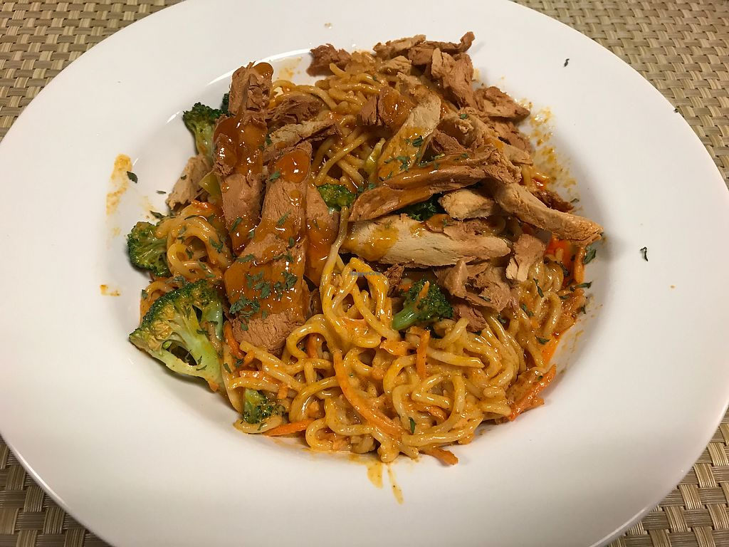 """Photo of Mangos Caribbean Restaurant  by <a href=""""/members/profile/VeganMamaAL"""">VeganMamaAL</a> <br/>Rasta pasta with vegetarian """"chicken"""" <br/> August 4, 2017  - <a href='/contact/abuse/image/39542/288458'>Report</a>"""