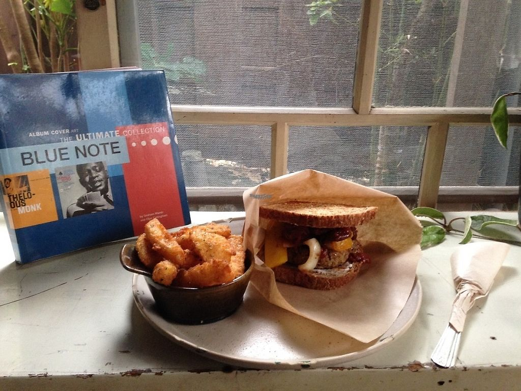 "Photo of Beach Muffin  by <a href=""/members/profile/VeganDietGuy"">VeganDietGuy</a> <br/>Veggie Burger and fries with a side of Jazz <br/> April 26, 2017  - <a href='/contact/abuse/image/39580/252659'>Report</a>"