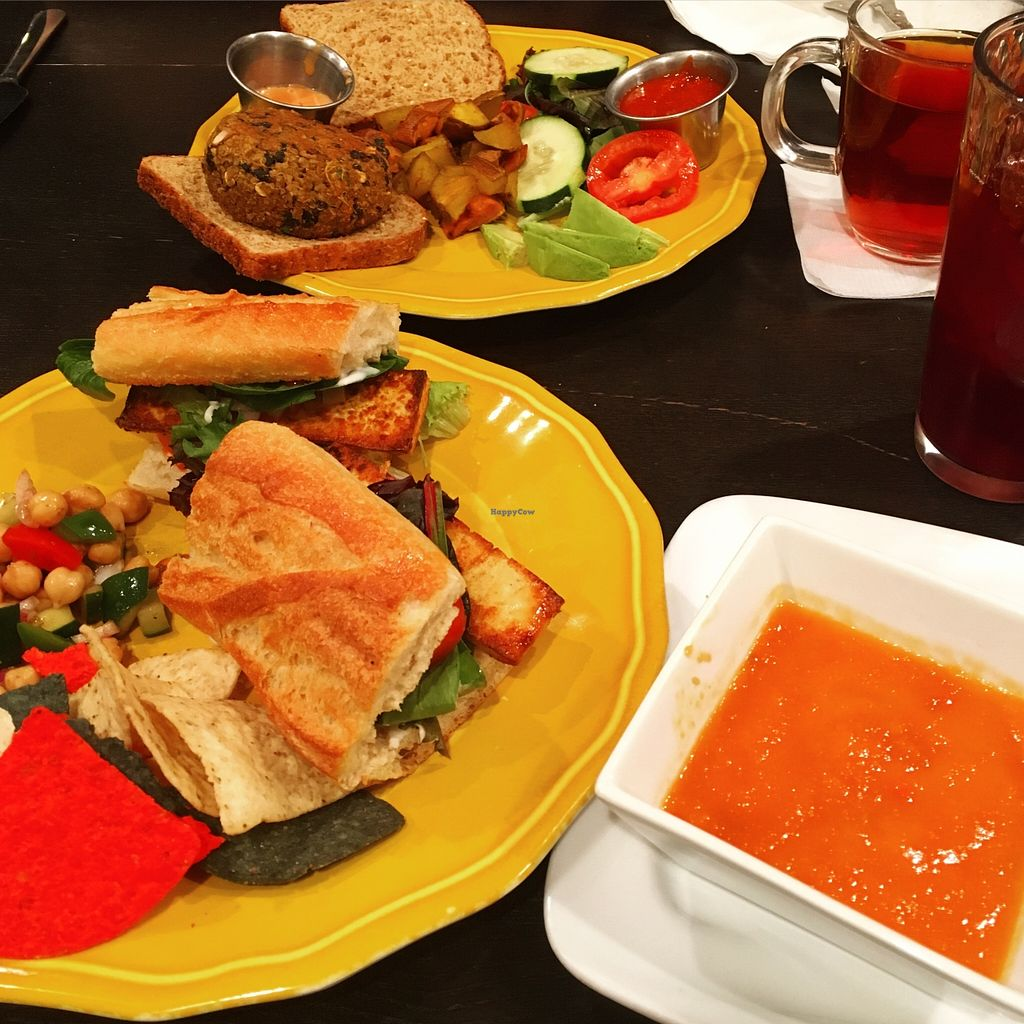 """Photo of CLOSED: Infini-T Cafe and Spice Souk  by <a href=""""/members/profile/daydreaminggiraffe"""">daydreaminggiraffe</a> <br/>Sweet Potato and Black Bean Burger, Tomato Red Pepper Soup of the Day, Seared Tofu Sandwich (special of the day), iced Hibiscus Berry tea, Earl Grey <br/> May 16, 2016  - <a href='/contact/abuse/image/39589/149400'>Report</a>"""
