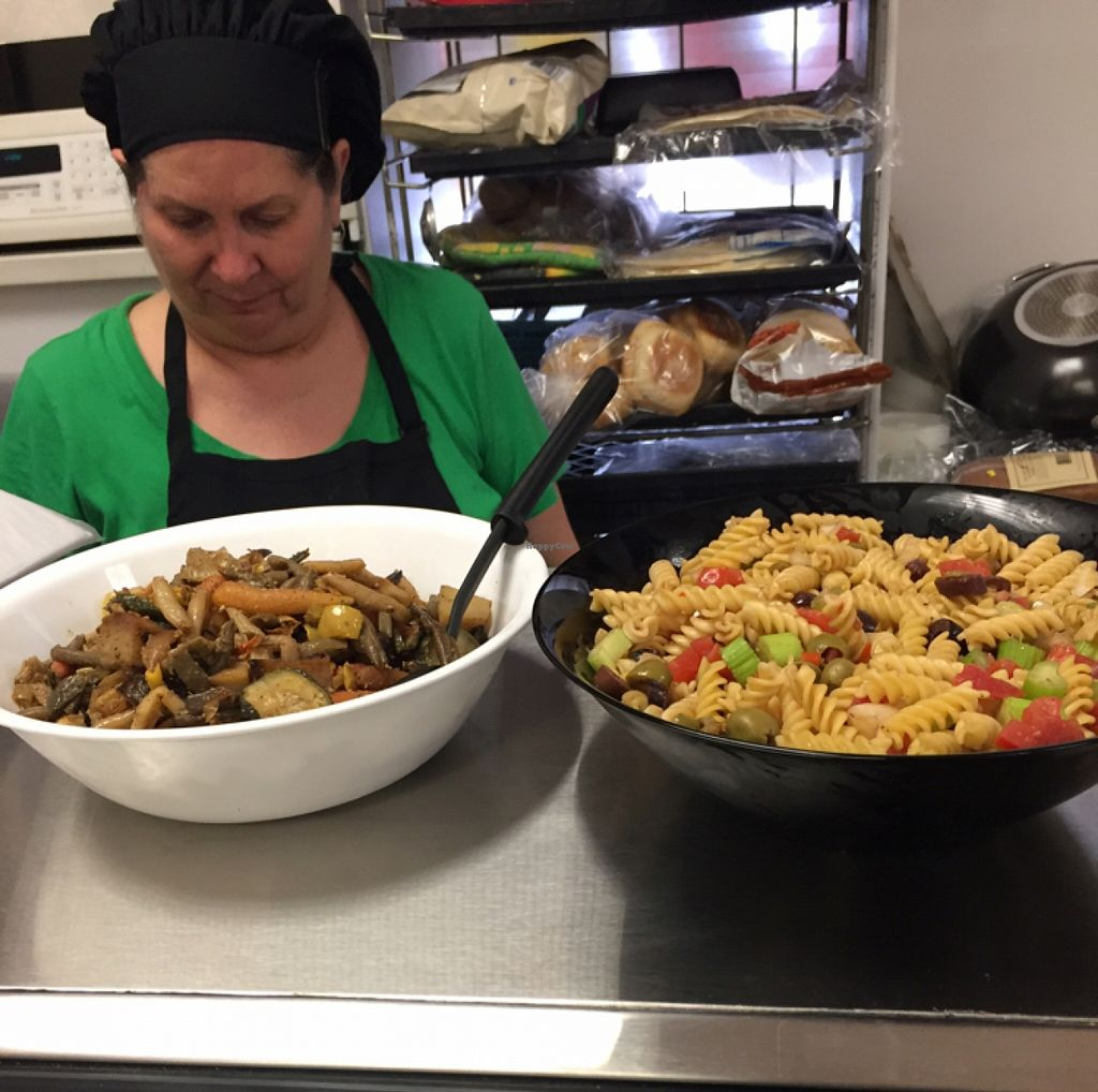 """Photo of Vegan Take Out Plus  by <a href=""""/members/profile/MiaC"""">MiaC</a> <br/>Mrs Pat and her delicious homemade pasta and roasted veggies <br/> March 16, 2016  - <a href='/contact/abuse/image/39592/140176'>Report</a>"""