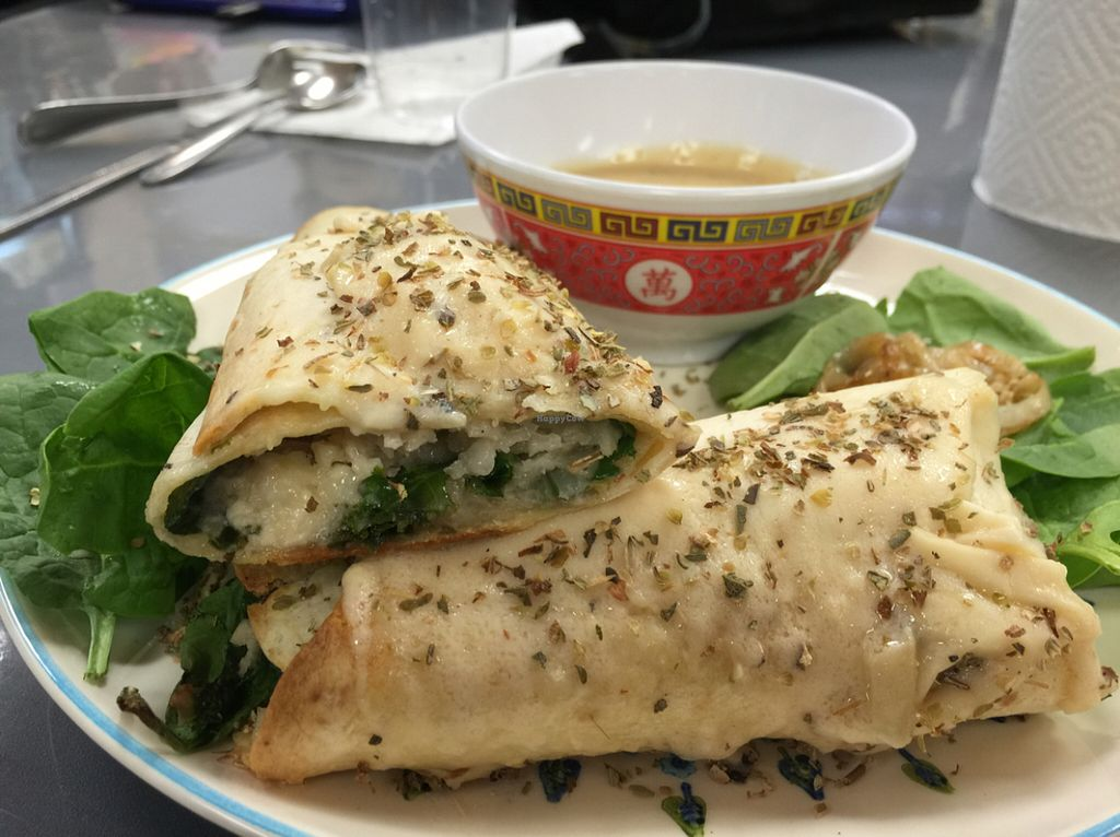 """Photo of Vegan Take Out Plus  by <a href=""""/members/profile/Natural%20Detox%20Pat"""">Natural Detox Pat</a> <br/>@vegetarian plus shrimp@followyourheart mozzeralla cheese with kale, spinach and grilled onions baked wrap with @followyourheart ginger miso dressing! <br/> July 16, 2016  - <a href='/contact/abuse/image/39592/160256'>Report</a>"""